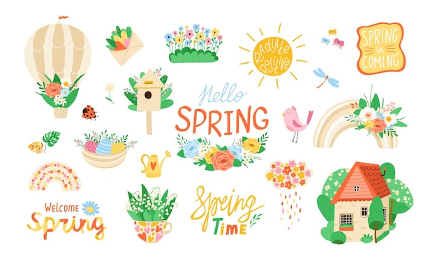 Collection various spring elements in flat style. set of flowers, birds, rainbows, quotes for design. concept of spring