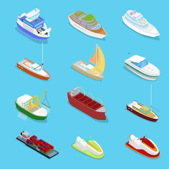 Collection of various types of ships