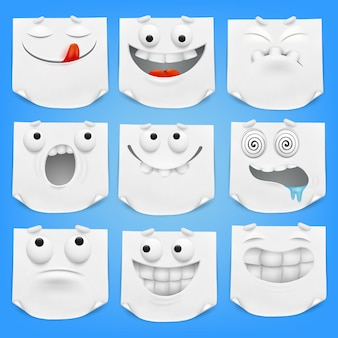 Collection of various white emoticon cartoon characters note paper with curled corner.