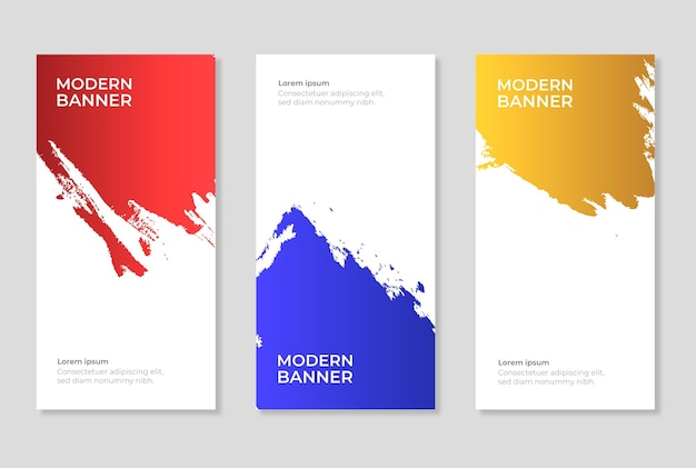 Collection of vectical colorful banners grunge