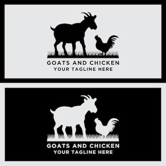 Collection of vector animal logos goat and chicken designs