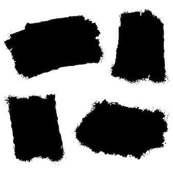 Collection of vector brush hand drawn graphic element. set of vector brush strokes isolated on white background. vector illustration.