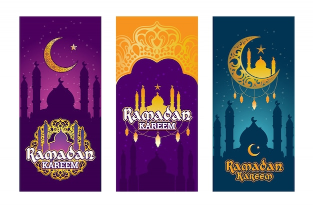 Collection of vector colored banners for ramadan kareem with ramadan elements