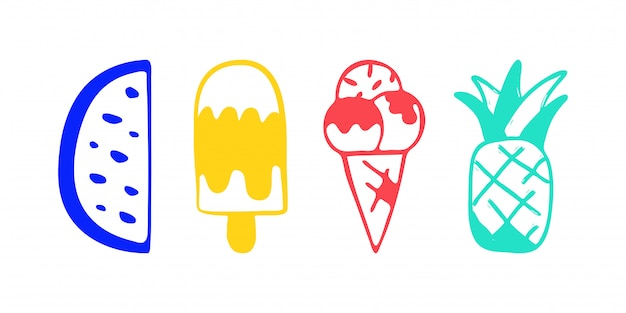 Collection of vector ice cream watermelon and pineapple