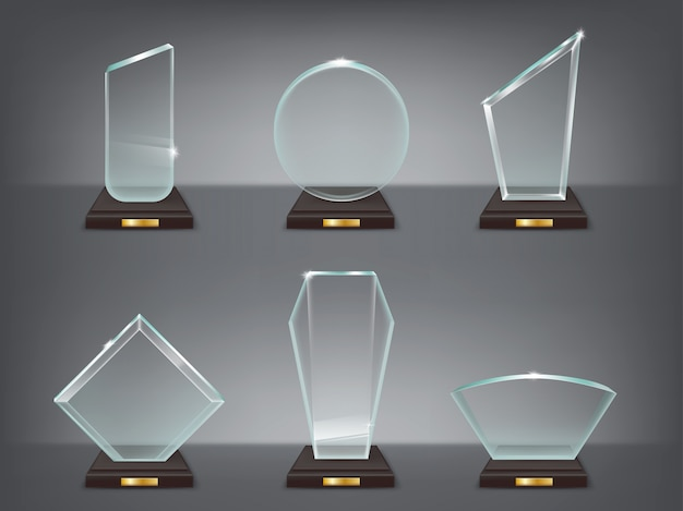 Collection vector illustration of modern glass trophies, prizes