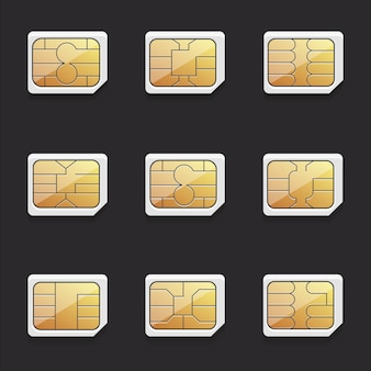 Collection of vector images of nano sim cards with different chips