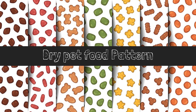 Collection of vector patterns. dry food for cats and dogs.