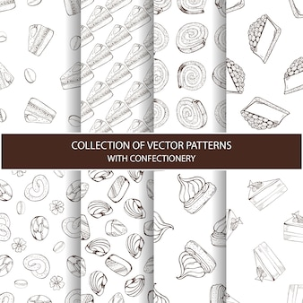 Collection of vector patterns with confectionery
