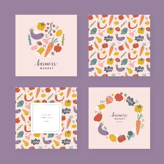 Collection of vegetable and fruit templates with copy space, decorative frames with hand drawn illustrations