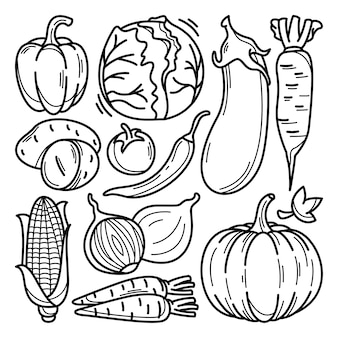 Collection of vegetables doodle