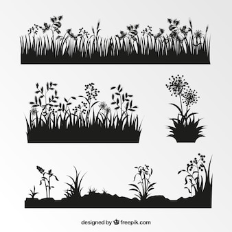 Collection of vegetation silhouettes