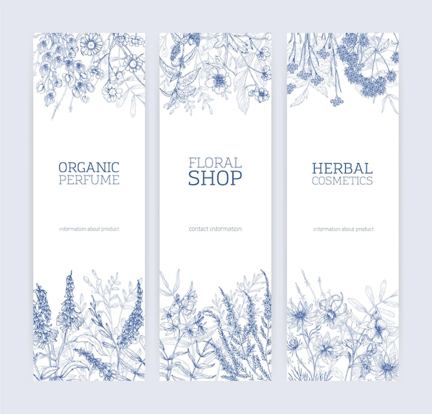 Collection of vertical banners decorated with wild flowers and flowering meadow herbs hand drawn with contour lines on white background.