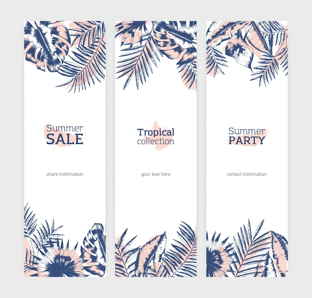 Collection of vertical flyer or banner templates with exotic palm tree leaves or foliage of tropical plants drawn with contour lines against stains on white background. illustration.