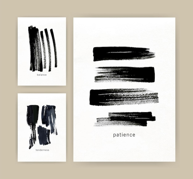 Collection of vertical minimalistic card templates with black ink