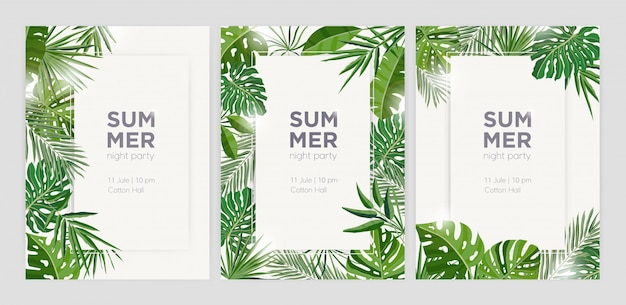 Collection of vertical summer backgrounds with frames or borders made of green tropical palm leaves or jungle exotic foliage and place for text.