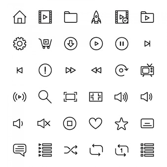 Collection of video and tv player icons