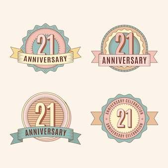 Collection of vintage 21 anniversary badges
