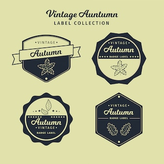 Collection of vintage autumn label vector