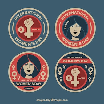 Collection of vintage badges for women's day