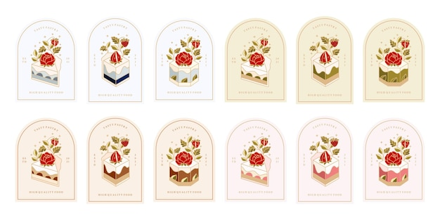 Collection of vintage bakery, pastry, cake logo and food label with strawberry, rose, peony flower elements