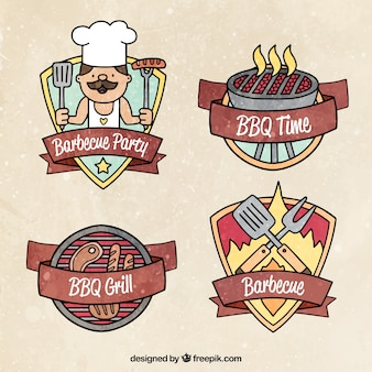Collection of vintage bbq badges