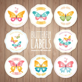 Collection of vintage butterflies stickers