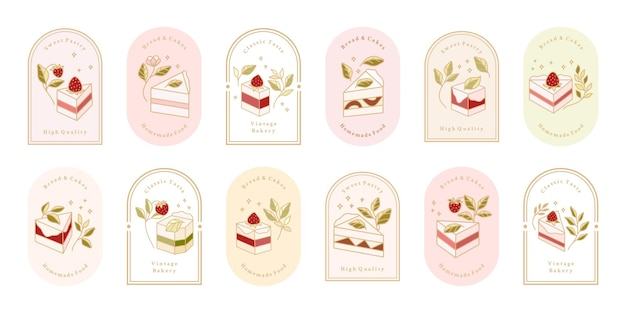 Collection of vintage cake logo and food label with strawberry, frame, & floral elements Premium Vector