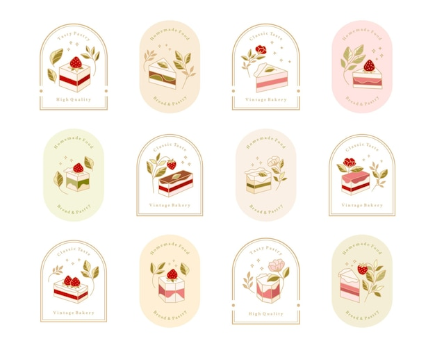 Collection of vintage cake logo and food label with strawberry, frame, & floral elements