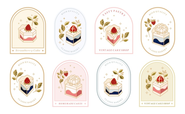 Collection of vintage cake logo and food label with strawberry frame floral elements