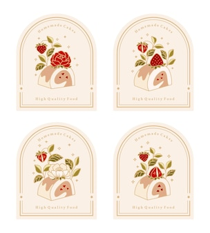 Collection of vintage cake logo and food label with strawberry, rose, peony flower elements