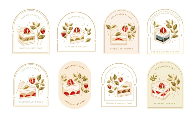 Collection of vintage cake logo and food label with strawberry Premium Vector