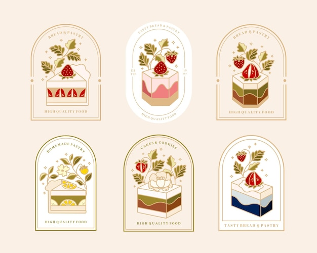 Collection of vintage cake logo and food label with strawberry