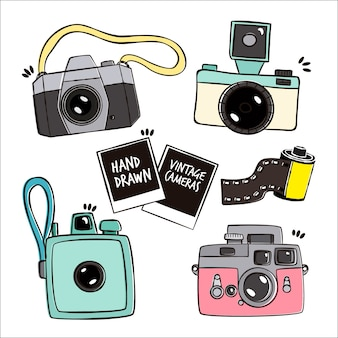 Collection of vintage cameras, hand drawn style