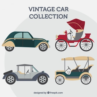 Collection of vintage cars in flat design