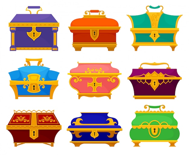 Collection of vintage chests on white background.
