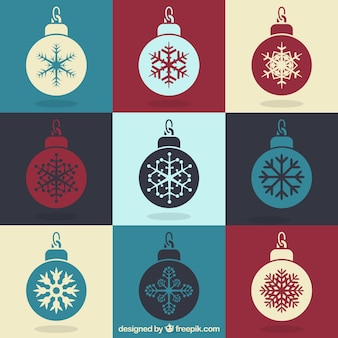 Collection of vintage christmas balls with snowflakes