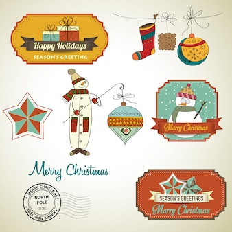 Collection of vintage christmas decorative elements and labels