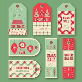 Raccolta di tag di vendita di natale vintage
