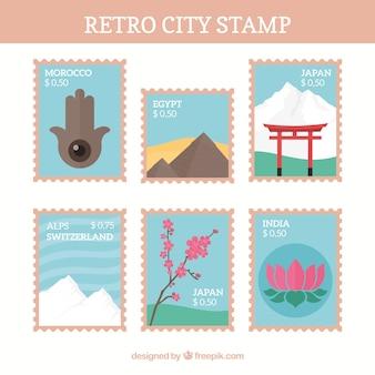 Collezione di francobolli di città d'epoca