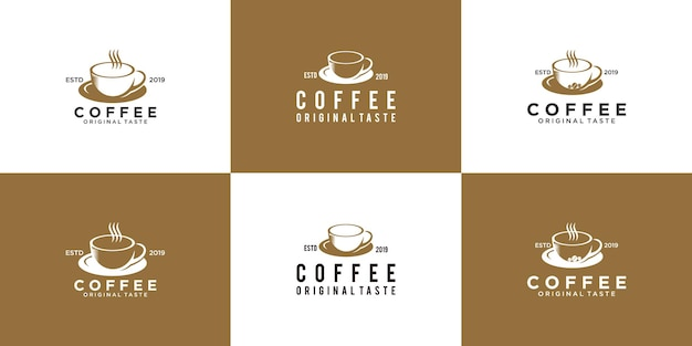 A collection of vintage coffee logos, restaurant drinks logo design