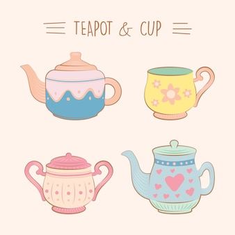 Collection of vintage cute teacup and cup illustration set flat color