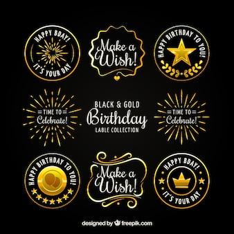 Collection of vintage golden birthday sticker