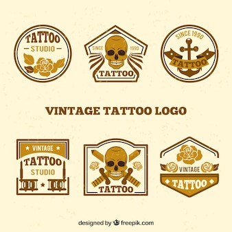 Collection of vintage golden tattoo logo