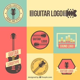 Collezione di loghi della chitarra d'epoca
