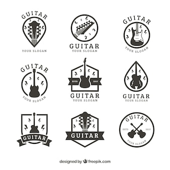 Collection of vintage guitar stickers