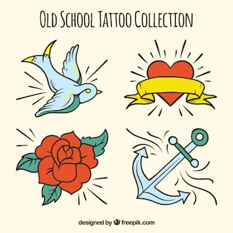 Collection of vintage hand drawn tattoos