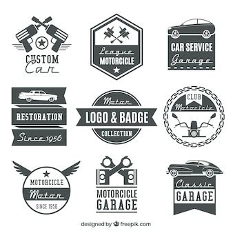 Collection of vintage motorcycle logos and badges