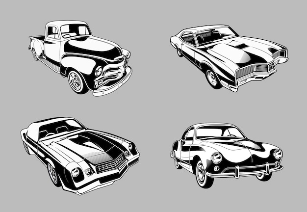 Collection of vintage muscle and classic cars in monochrome retro style cars