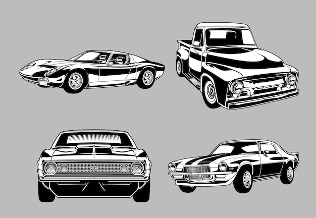 Collection of vintage muscle and classic cars in monochromeretro style cars