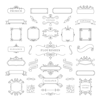 Collection of vintage ornament frame illustration
